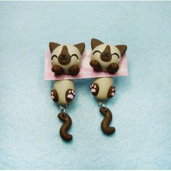 how to make polymer clay cat earrings