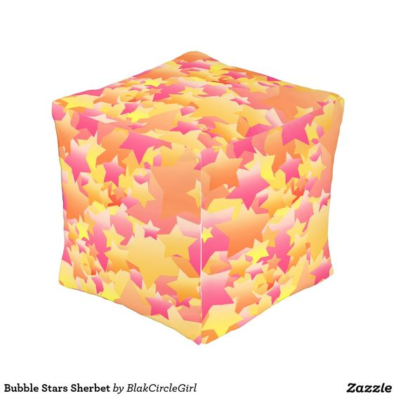 Bubble Stars Sherbet Cube Pouf