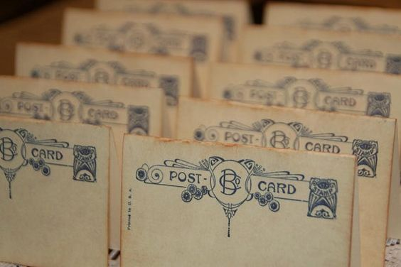 50 - Wedding Place Cards - Vintage Post Cards Placecards - Escort Cards - Tent Table Place Cards