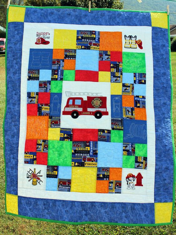 Handmade Fireman Themed Toddler Quilt By Beddbyecreations