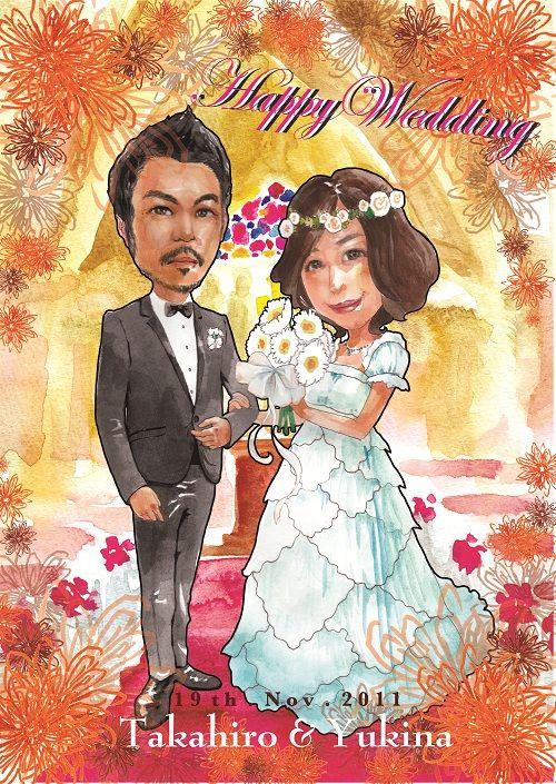 にがおえホームダイレクト過去作品の紹介です☆こちらは当サイトのアーティスト、藤田有紀さんの作品です!御新郎さまがタキシード屋さんということで、タキシード姿がとっても決まっていてステキですね☆