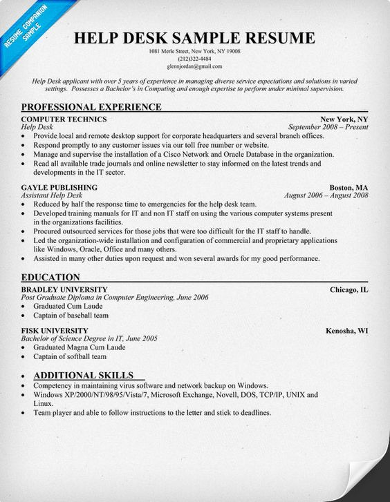 ... Bbb Resume Writing Services By Help Desk Resume Resumecompanion Resume  Sles Across All Industries ...