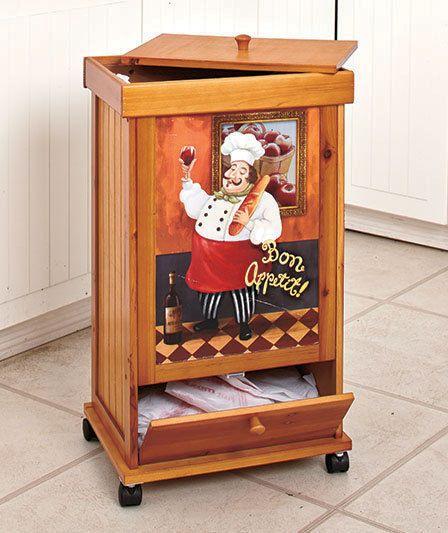 Fat Italian Chef Rolling Wooden Trash Bin W/Storage Compartment Kitchen  Decor