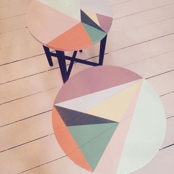 New tables headed to #scottishdesignexchange #happyretrofurniture #geometricfurniture #upcycledfurniture by happyretrofurniture