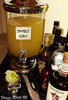 don't specify zombie, age the label more, add some sort of gross looking chunks, or perhaps a finger.  Or weight glow sticks at the bottom of the container