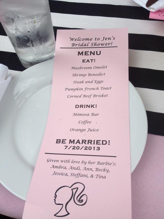 Menu Card For Barbie Stripes Pink Bridal Shower