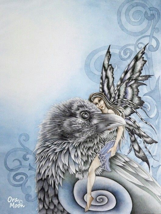 Celtic raven and fairy
