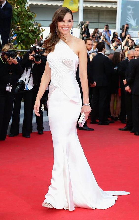 Hilary Swank in a white #AtelierVersace creation at #Cannes2014 #VersaceCelebrities