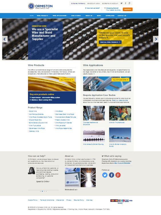 Here's the new E commerce platform we designed for historic wire manufacturers: Ormiston Wire.
