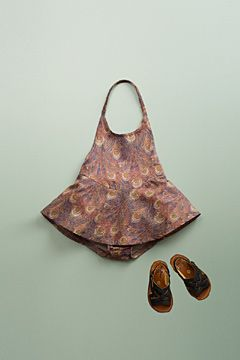 liberty skirted sunsuit cocoa by flora and henri, peacock print: