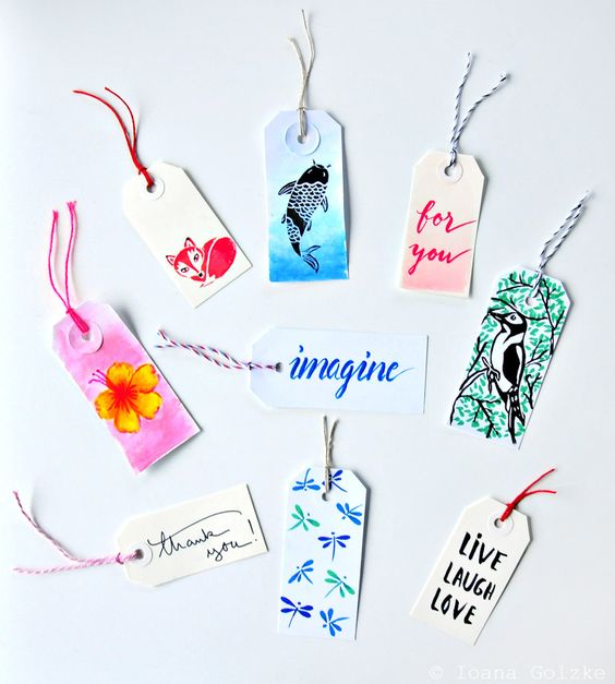 miss red fox - Brush Pen Tags - Tombow - Etiketten - Lettering - Drawing - Illustration - Koi - Fox - Woodpecker - Live laugh love - Dragonfly - thank you - Hibiskus - imagine - for you