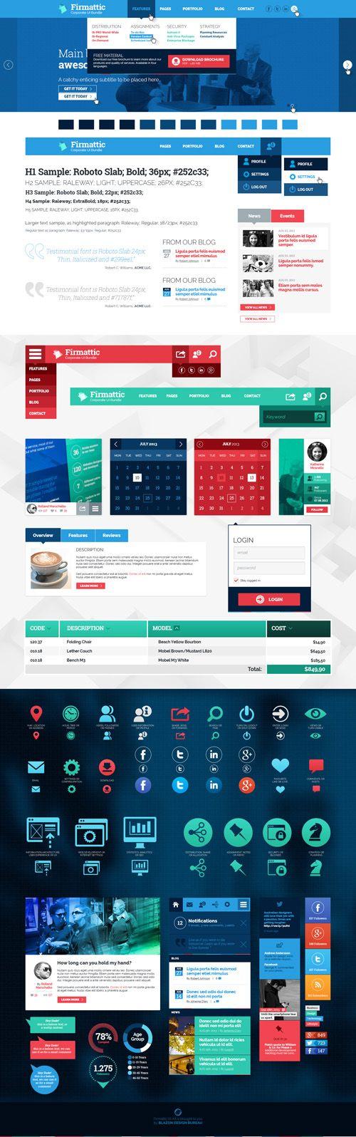 Firmattic - Corporate UI-Bundle #flatuikits #flatdesign #uikits
