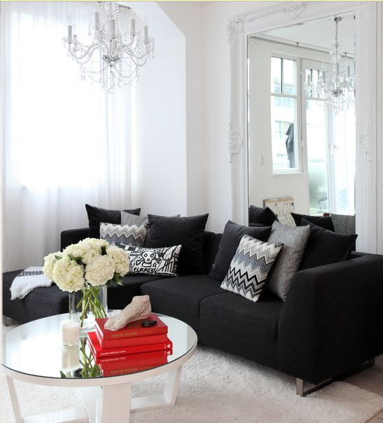 White rug living rooms and the pillow on pinterest for Black couch living room