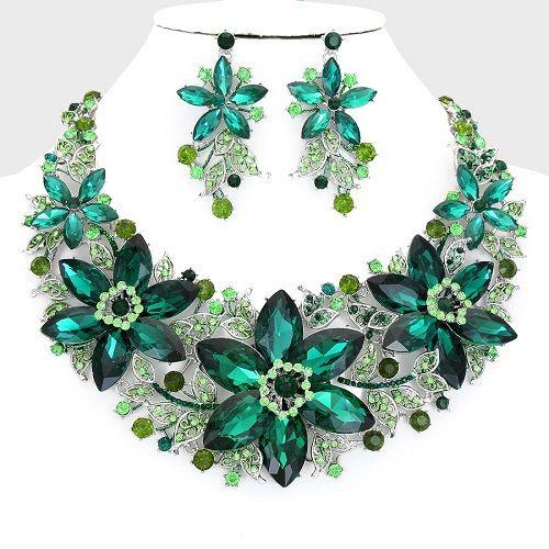 Green Costume Jewellery: Emerald Green Aurora Borealis Crystal Necklace Set
