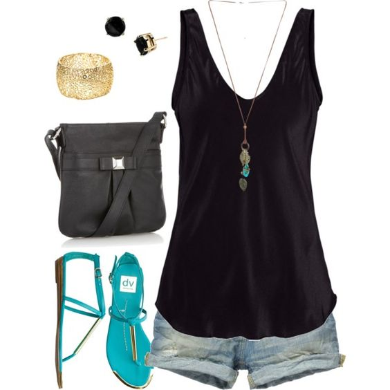 black w/teal, created by riictr on Polyvore