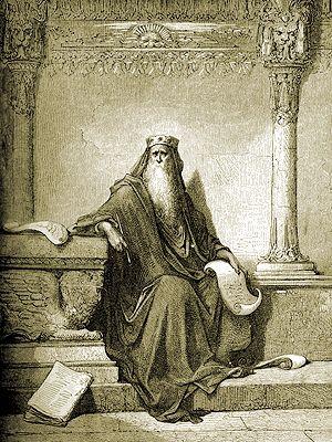 Salomón escribe los Proverbios (Doré)