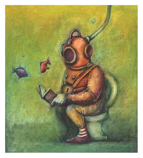 The reader takes any time to read / El lector aprovecha cualquier momento para leer (ilustración de Slawek Gruca)