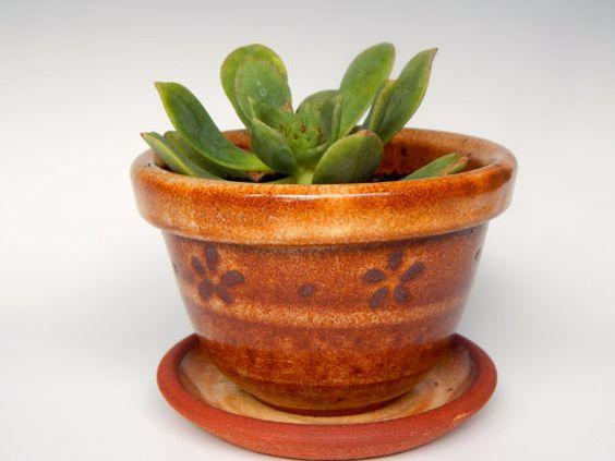 Handthrown Stoneware Daisy Planter RedGolden by TheImpatientPotter, $25.00