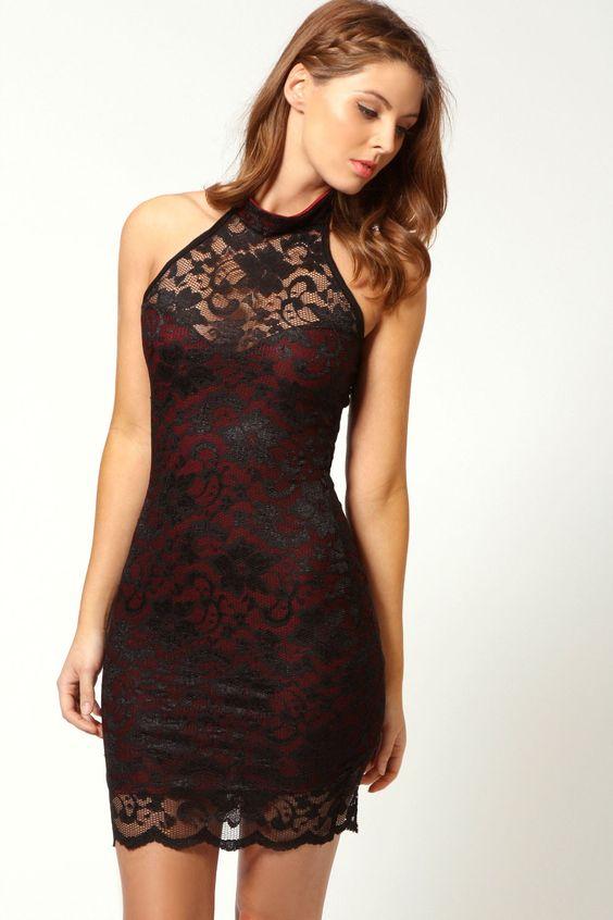 Elisa Sweetheart Halterneck Lace Dress Black