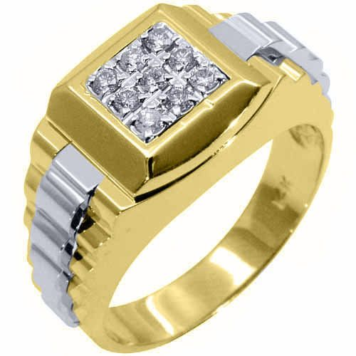 Trending Mens Rolex Ring Two Tone Gold Square Diamond Ring Carats Main mens ring Pinterest Square diamond rings Rolex and Diamond