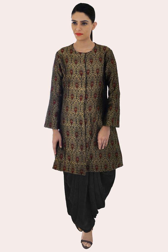 Black-Gold Banarasi Jamawar Handwoven Pure Brocade Silk Jacket