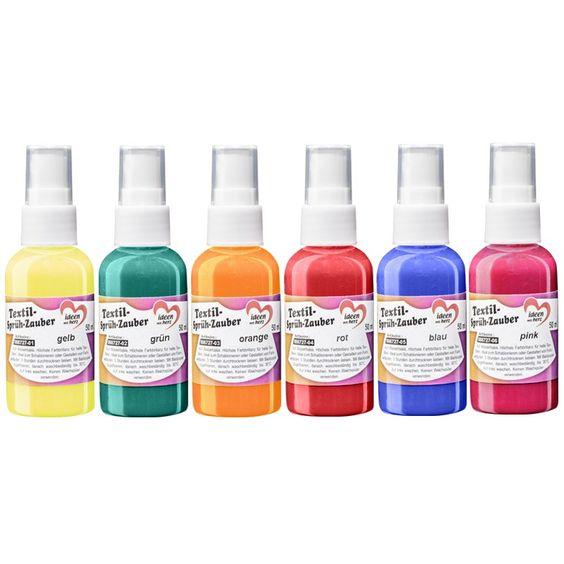 6 Flaschen Textil-Sprüh-Zauber - 6,95 €, je 50 ml, 6 verschiedene Farben (gelb, grün, orange, rot, blau, pink), in praktischer Sprühflasche mit feinzerstäubendem Sprühkopf, liegt perfekt in jeder Hand.  Auf Wasserbasis. Hochpigmentierte Farben...
