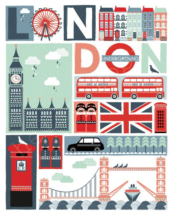 Londres excentrique Illustrative Estampe affiche de par helenrobin