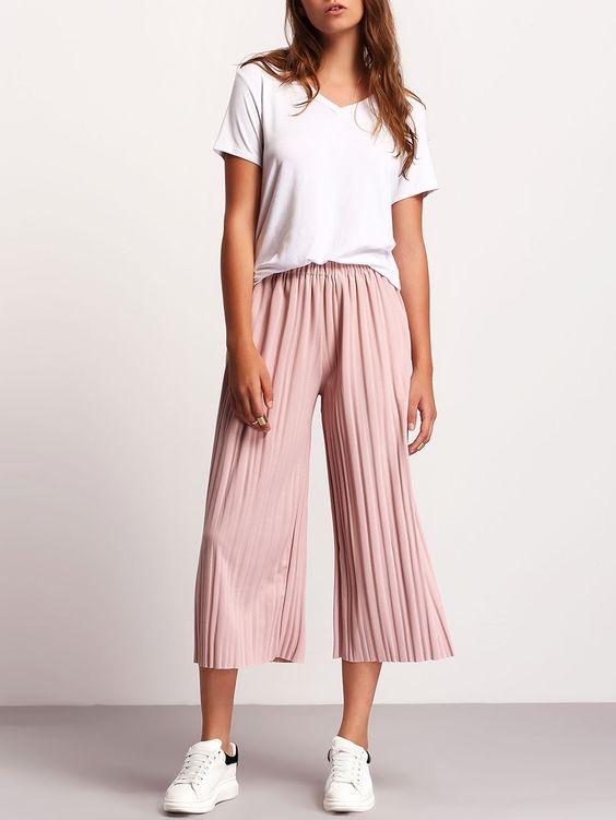 Pantalon plissé taille élastique -rose
