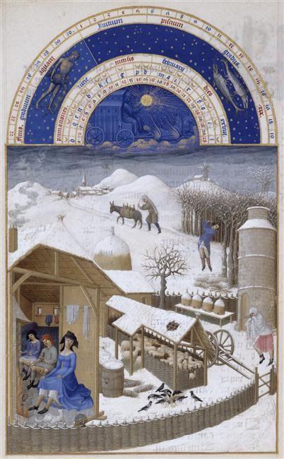 Le mois de Février. Jean et Hermann Limbourg. Les Très Riches Heures du duc de Berry (1411-1416) le Calendrier.