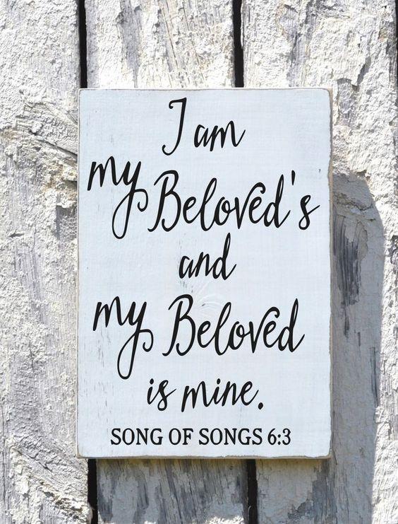 Wedding sign scripture plaque i am my beloved s couples