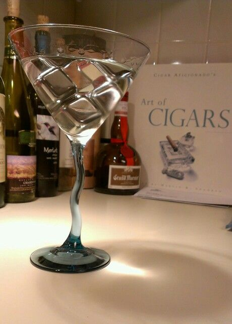 Classic vodka martini with stainless ice cubes