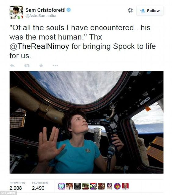 Tribute to Leonard Nimoy by astronaut Samantha Christofretti, in space