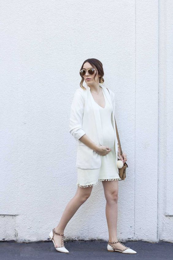spring/summer outfit: white dress, white blazer, white flats