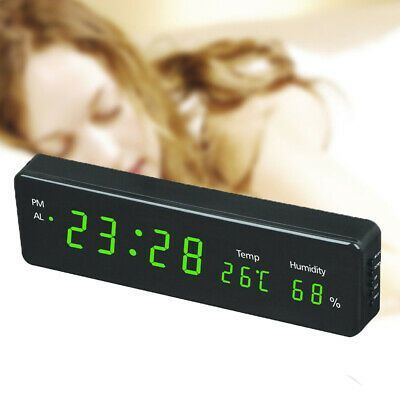 Electronic Digital Wall Clock With Temperature Humidity LED Display Home Clocks
