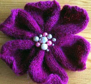 Knitted Headband With Flower Pattern Flower Knitting ...