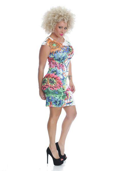 Spring print dress bodycon