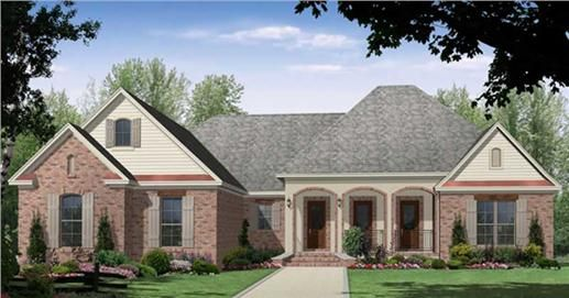 Attractive European country house plan designed for your families' needs. The oversized great room with raised ceilings and built in cabinets is just right for entertaining.