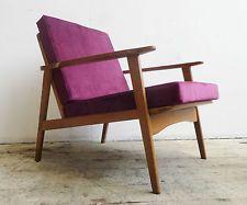Vtg 50s 60s Retro Modernist Mid Century Danish Style Teak Low Lounge Arm Chair