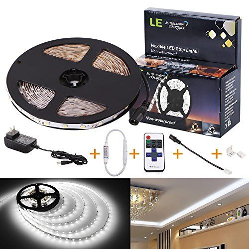 LE 12V Flexible LED Strip Lights Kit, LED Tape, 6000K Daylight White, 300 Units SMD 3528 LEDs, 73 Lumens/ft, Non Waterproof, 12 Volt LED Light Strips, Pack of 16.4ft/5m, All Accessories Included. READY TO USE: With all the accessories provided, all you have to do is to plug in and enjoy the vivid light. DIMMABLE: With the provided RF dimmer, it is infinitely dimmable and has 3 fixed brightness options. You can choose a desired mode within the 7 flashing modes via the remote controller, the…
