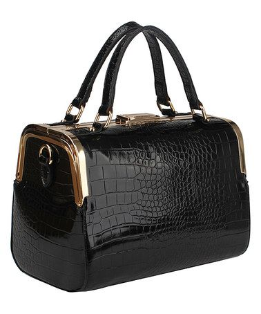 This Black Croc-Embossed Barrel Satchel by Handbag Republic is perfect! #zulilyfinds