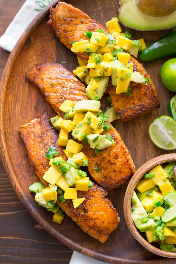 fattributes:  Chili Lime Salmon with Avocado Mango Salsa