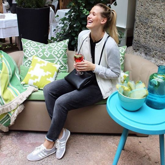 tifmys - Zara college jacket, Céline trio bag, H&M boyfriend jeans & Adidas Gazelle sneakers.