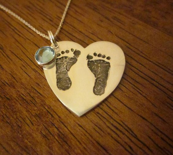 Heart Shaped Baby Footprint Pendant With Swarovski Birthstone - NOT AVAILABLE by CHRISTMAS