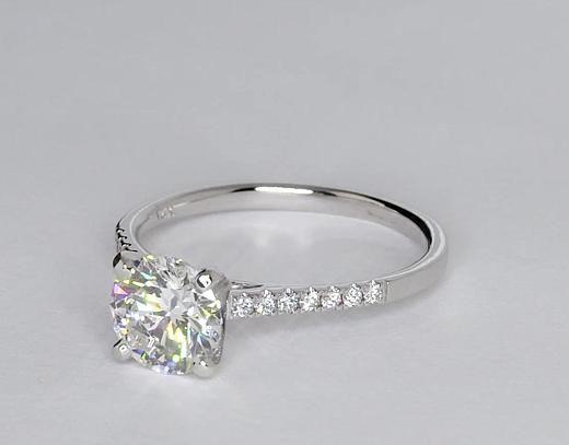 1.5 Carat Diamond Petite Cathedral Pavé Diamond Engagement Ring