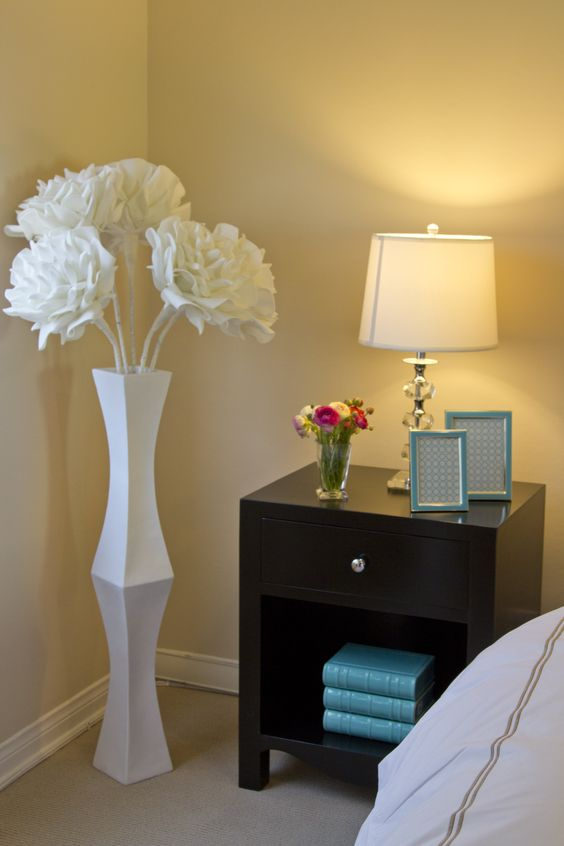 A contemporary bedside table with pops of color from our aquamarine Ceramic books and Newport frames. Our large Village flowers fill the corner nicely. Styling by Georgette Westerman Interiors.: Bedroom Decor, Colors For Bedrooms, Vase Decor, Corner Idea, Bedroom Desgin Ideas, Master Bedroom, House Ideassssss, Bedroom Ideas