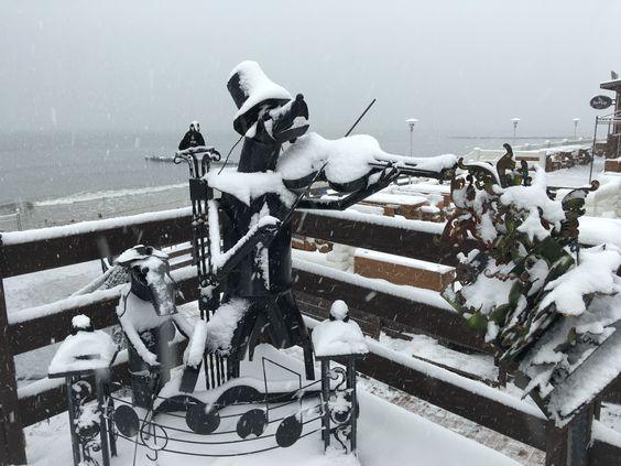 Балтийская зима, присыпан снегом музыкант