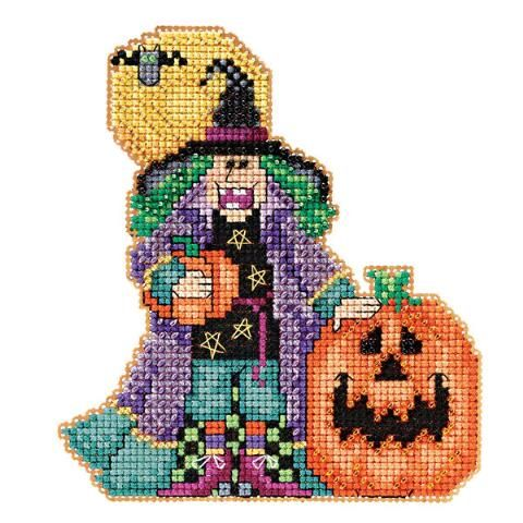 Mill Hill® Muriel Counted Counted Cross-Stitch and Bead Kit - Herrschners #witch #halloween #pumpkin