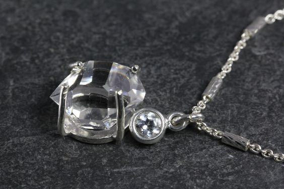 Herkimer Diamond Blue Topaz Necklace