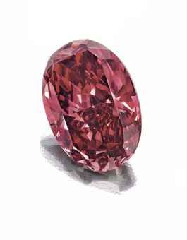 The modified oval-cut fancy red diamond, weighing approximately 1.42 carats, Argyle Diamond Mine, Western Australia