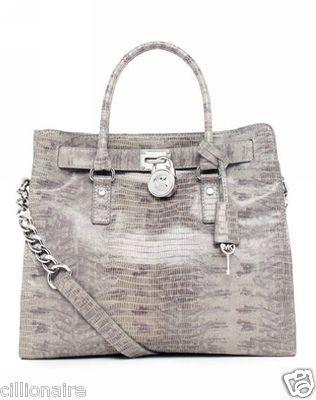 $310.00 MICHAEL KORS Large Gray Slate Hamilton Leather Tote Bag + FREE GIFT
